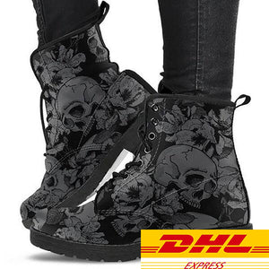 Grey Flower Skulls Women's Boots