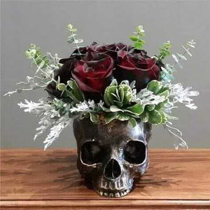 Bronzed Day of The Dead Skull Bowl Figurine