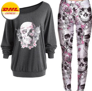 Grey Floral Skulls & Roses Outfit