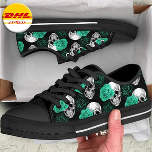 Green Floral Skulls Women's Low Tops