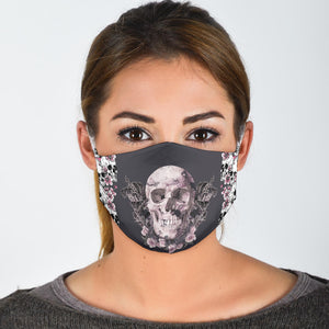 Grey Floral Skull Face Mask