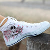 Skull and Flowers Women's High Top Shoe