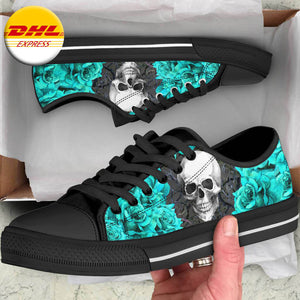Turquoise Rose Skull Low Top Shoe