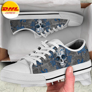 Sugar Skull Blue Flower Low Top