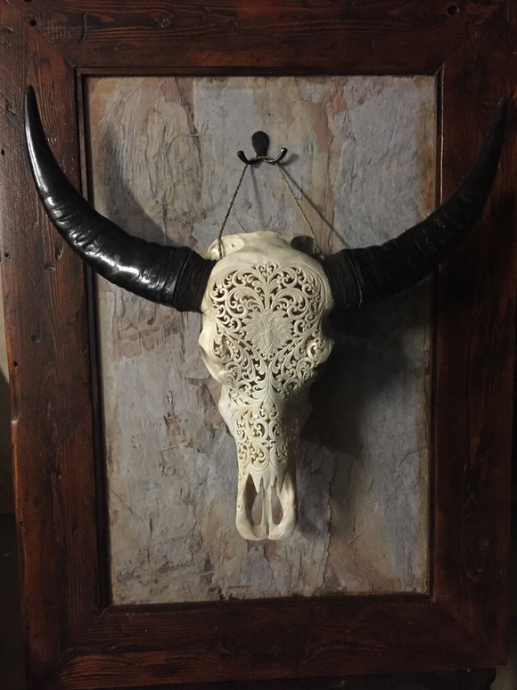 12. Carved Buffalo Skull with Lotus Flower design