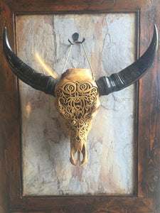 20. Carved Buffalo Skull with Celtic Turtle Design