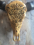 21. Carved Buffalo Skull with Celtic Turtle Design