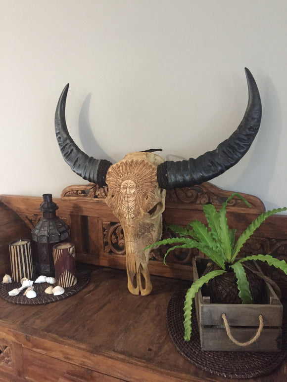 XL Buffalo Skull with Carved Indian Chief Design