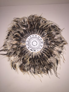 Brown Feather and Shell Juju Hat