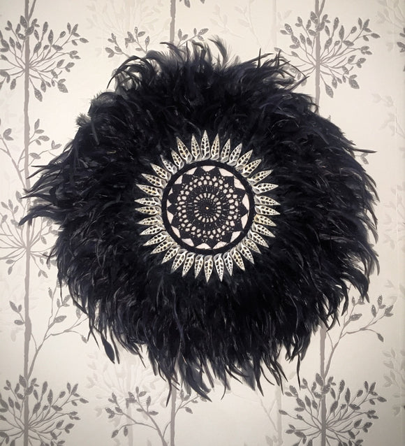 Black Feather and Shell Juju Hat