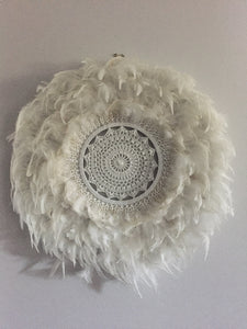 White Feather and Shell Juju Hat
