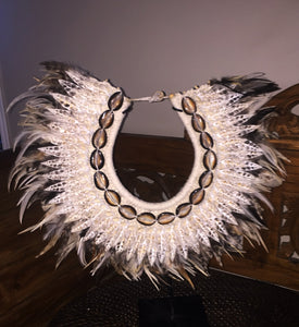Boho Feather and Shell Tribal Necklace with stand