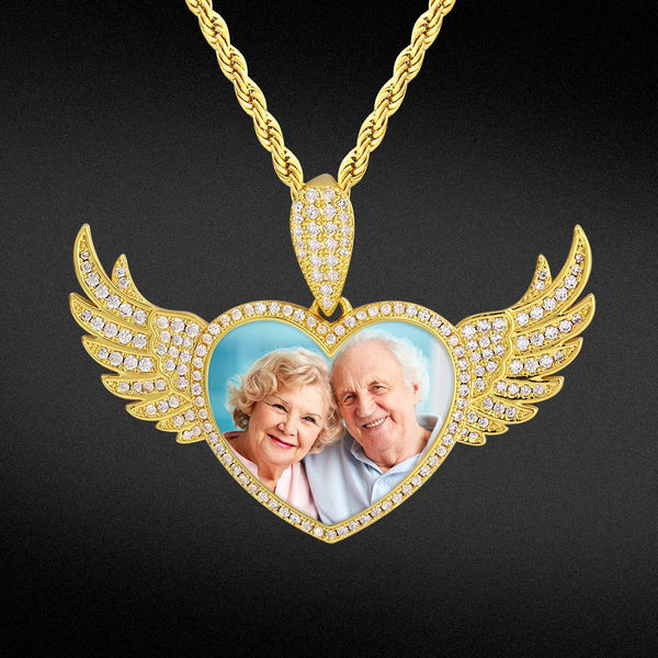 Custom Flying Angel Wings Heart Picture Necklace Photo Pendant