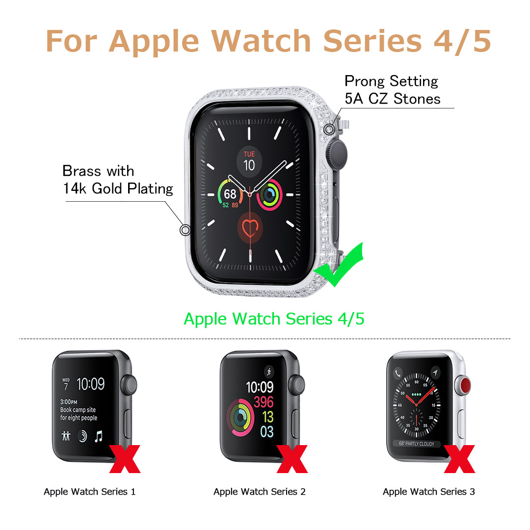 Iced Apple Watch Cover for Apple Watch Series 5/4 in White Gold-KRKC&CO