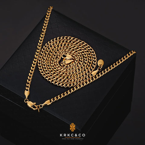6mm Mens Miami Cuban Link Chain in 18K Gold