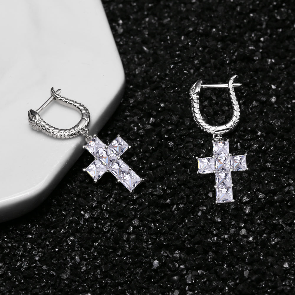 Cross Earrings with Dragon Hoop in 925 Sterling Silver