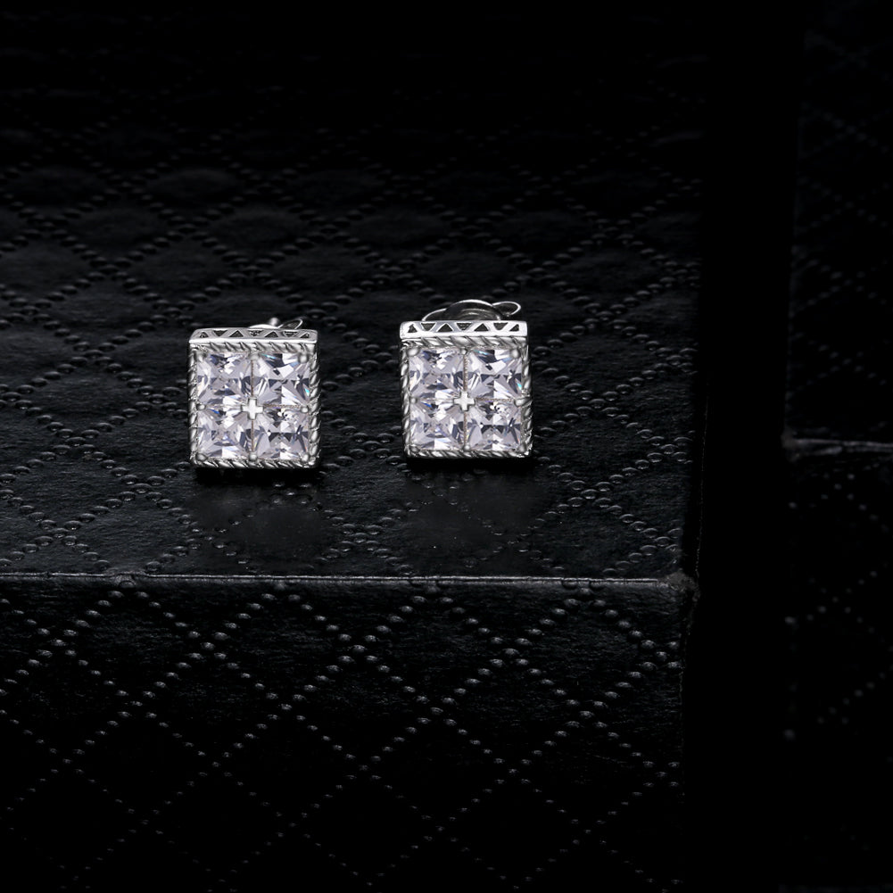 Square Cubic Zirconia Stud Earrings in 925 Sterling Silver