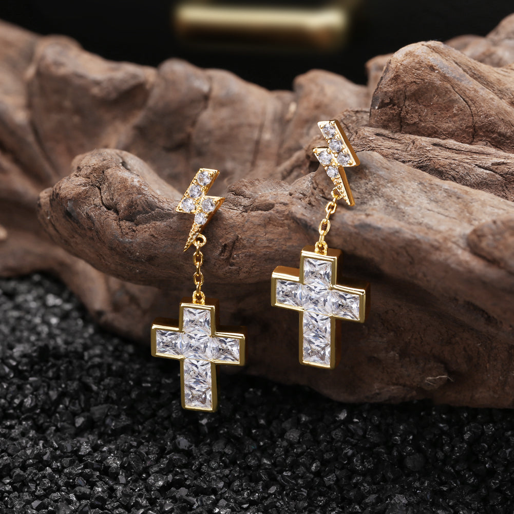 925 Sterling Silver Princess Cut Cross Earrings with Lightning Stud
