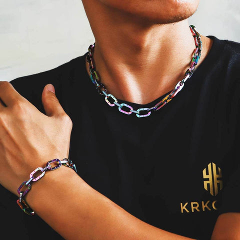 Iced cable chain and bracelet set from KRKC&CO