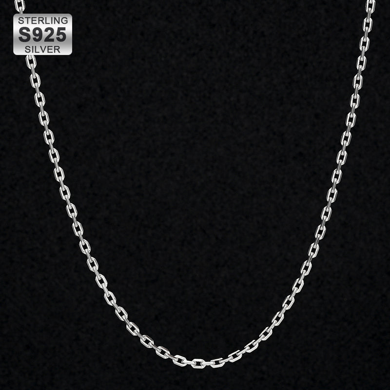 2.5mm Cable Chain in 925 Sterling Silver White Gold Plated-krkcom