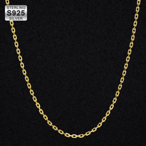 18K Gold 2.5mm Cable Chain in 925 Sterling Silver-krkcom