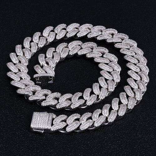 16mm Iced Baguette Cut Cuban Choker Chain in White Gold-KRKC&CO