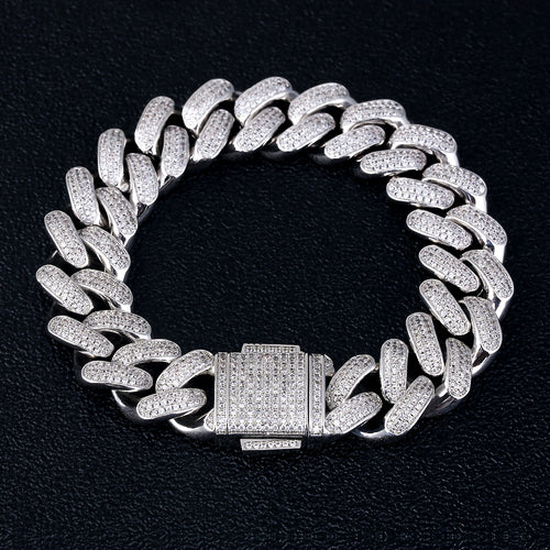 18mm Iced Cuban Link Bracelet White Gold Plated-krkcom