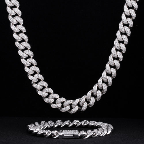 12mm Iced Miami Cuban Chain and bracelet Set in White Gold-krkcom
