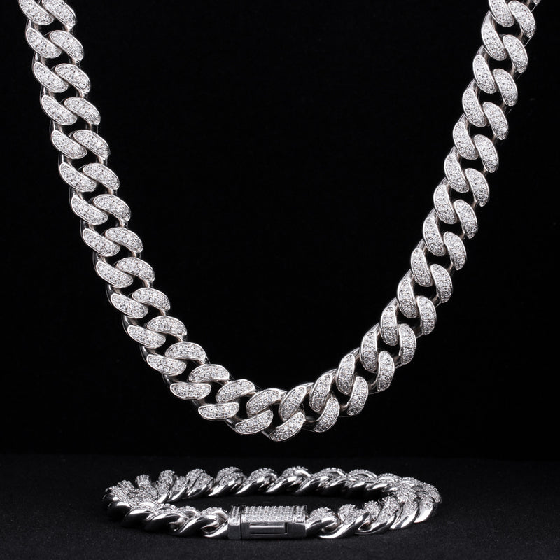 12mm Iced Cuban Chain and bracelet Set White Gold Plated-krkcom