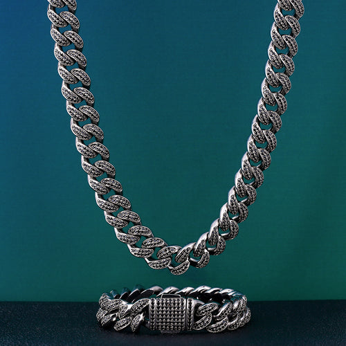 12mm Black Iced Out Miami Cuban Chain and bracelet Set-krkcom