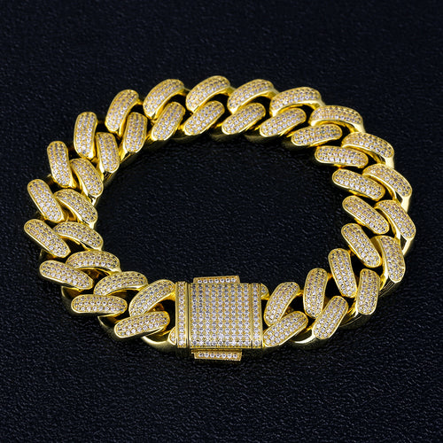 18mm Iced Cuban Link Bracelet 14K Gold Plated-krkcom