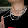 7mm Stainless Steel Figaro Chain Set in White Gold-krkcom