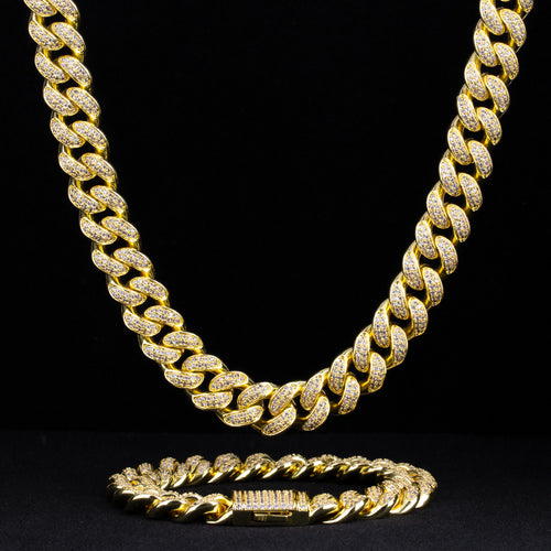 12mm Iced Cuban Chain and Bracelet Set in 14K Gold-krkcom