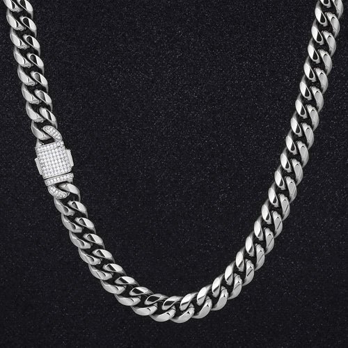 12mm Iced Miami Cuban Link Chain in White Gold