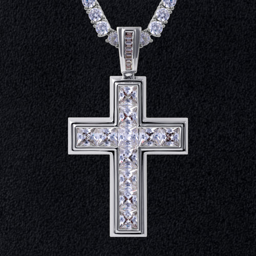 Princess Cut Cross Pendant White Gold Plated-krkcom