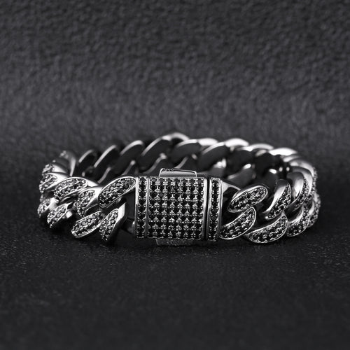 12mm Black Iced Cuban Link Bracelet-krkcom