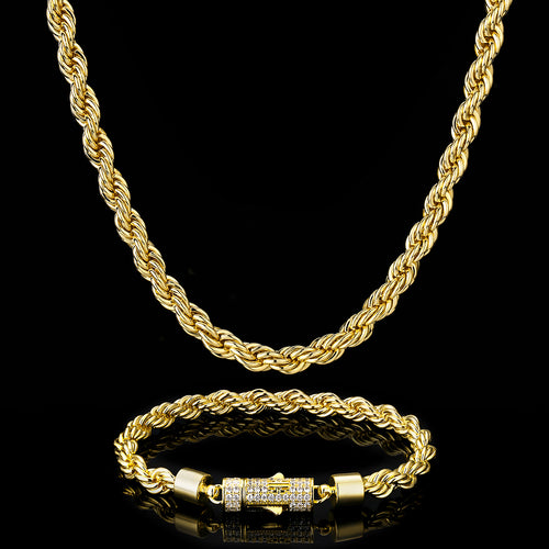 6mm Rope Chain and Bracelet(lobster Clasp)14K Gold Plated-krkcom