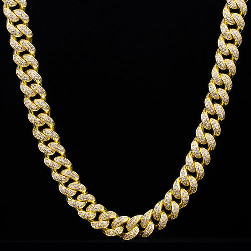 12mm Iced Cuban Link Chain in 14k Gold-KRKC&CO