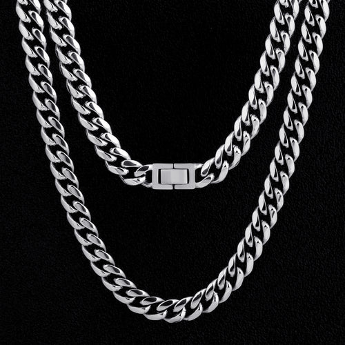 10mm Miami Cuban Link Chain in White Gold-KRKC&CO