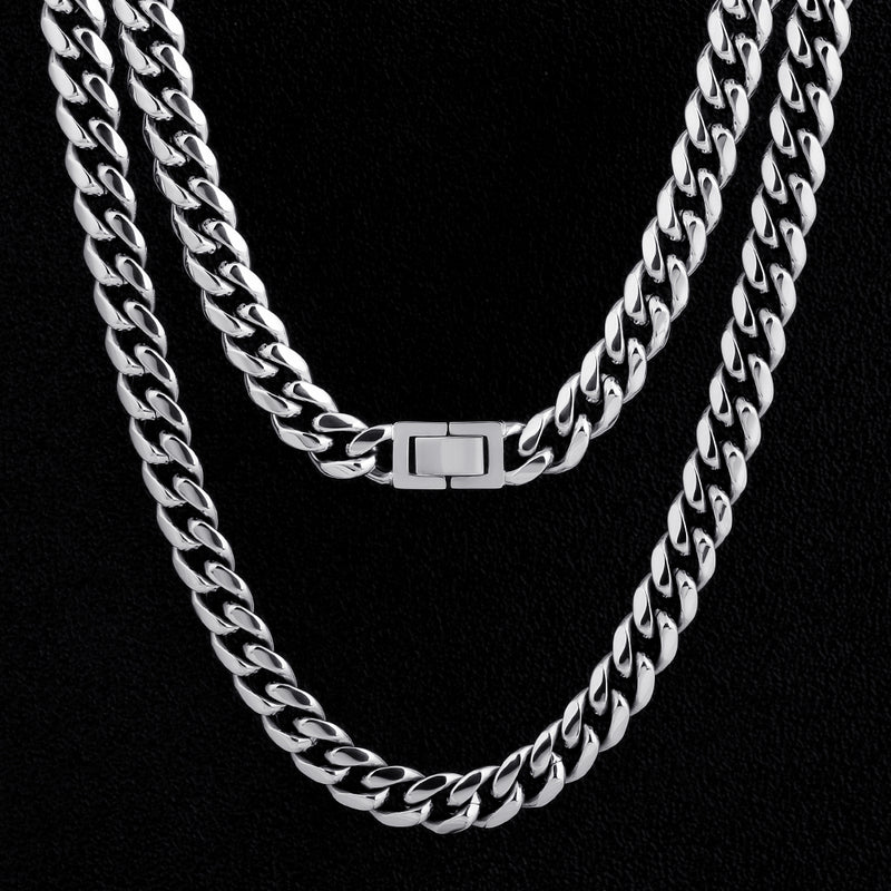 10mm Miami Cuban Link Chain White Gold Plated-krkcom
