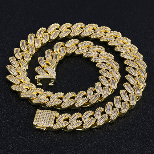 16mm Iced Baguette Cut Cuban Choker Chain in 14K Gold-KRKC&CO