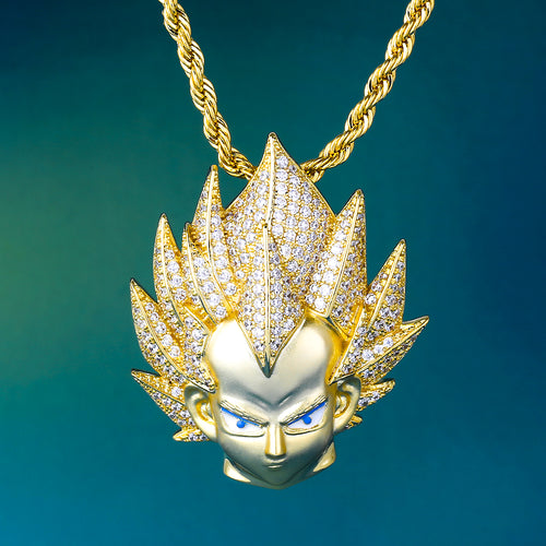 14K Gold Iced Out Dragon Ball Goku Vegeta Pendant Necklace For Men Women Kids-krkcom