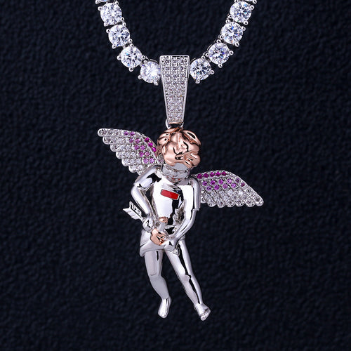 White Gold Iced Cupid Guardian Angel Pendant-krkcom