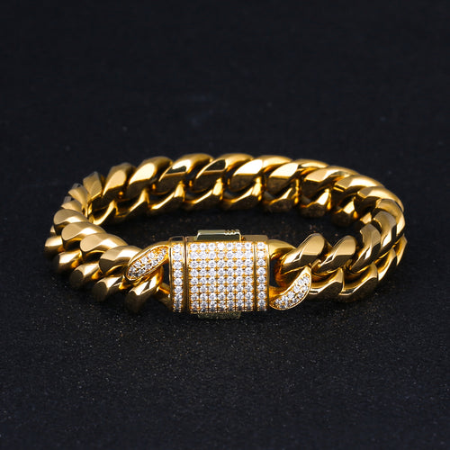 12mm Iced Miami Cuban Link Bracelet 18K Gold Plated-krkcom