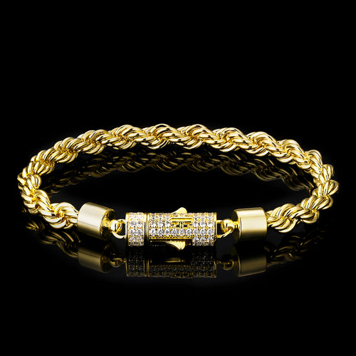 6mm Rope Bracelet(Iced Clasp)14K Gold Plated-krkcom