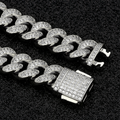 12mm Iced Cuban Chain and bracelet Set in White Gold-krkcom
