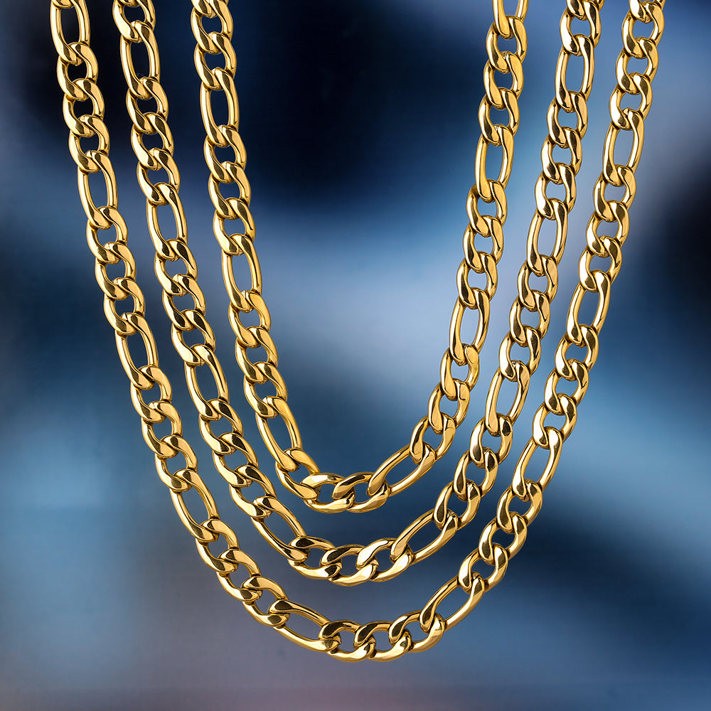 7mm Stainless Steel Figaro Chain Set in 18K Gold