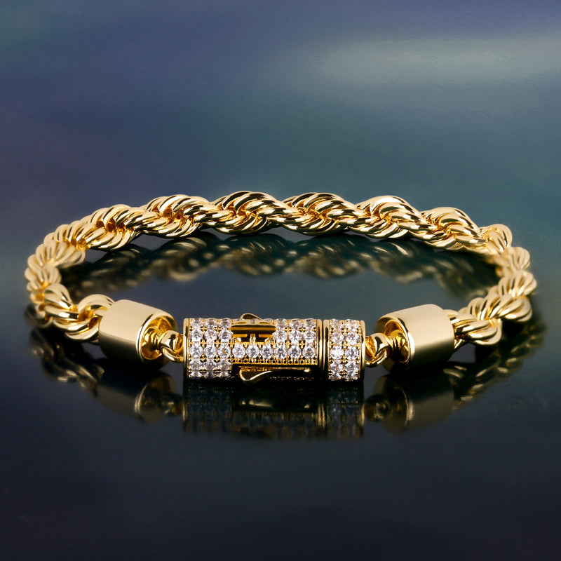 6mm 14K Gold Rope Bracelet For Men And Women-krkcom