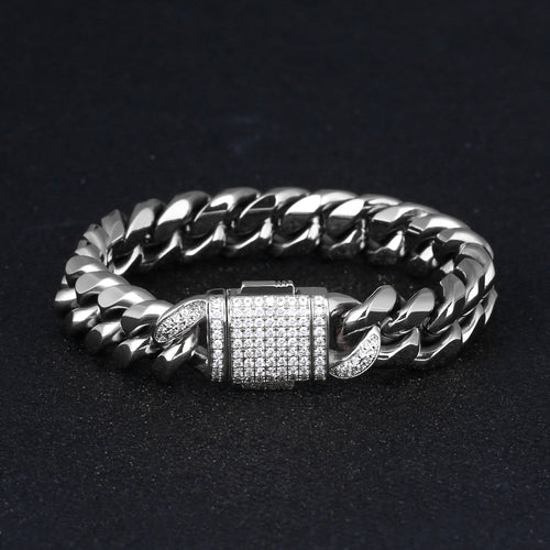 12mm Iced Miami Cuban Link Bracelet White Gold Plated-krkcom