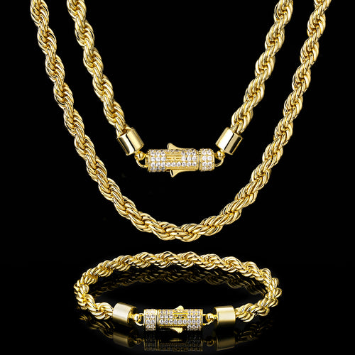 6mm Rope Chain and Bracelet(Iced Clasp)14K Gold Plated-krkcom
